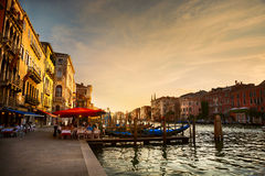 Grand Canal after sunset, Venice stock photo