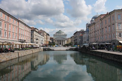 The Grand Canal in Trieste, Italy in summer cloudy day. Stock Images