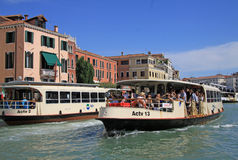 Grand Canal with vaporetto sea trams. VENICE, ITALY Royalty Free Stock Images