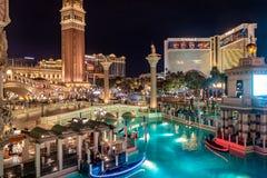 Grand Canal of Venetian Hotel Casino at night - Las Vegas, Nevada, USA Royalty Free Stock Photography