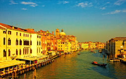 Grand Canal in Venice. Beautiful landscape of Grand Canal in Venice in sunset light Royalty Free Stock Photo