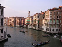 The Grand Canal, Venice. Gondolas and other traffic on the Grand Canal in Venice, Italy at sunset stock images
