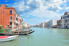 Grand Canal in Venice. Lined by lavish Venetian buildings stock photography