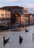Grand Canal, Venice. Looking down the Grand Canal at sunset with 3 gondolas Stock Photography