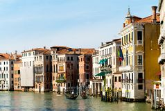 The Grand Canal in Venice. Grand canal and gondolas on a sunny day Royalty Free Stock Photos