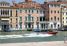 Grand Canal of Venice. Fire brigade boat on the Grand Canal in Venice Royalty Free Stock Image