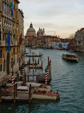 Grand Canal Venice. Scenic view of boat travelling on Grand Canal, Venice, Veneto region, Italy Royalty Free Stock Images