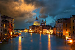 Grand Canal in Venice. Grand Canal with Basilica Santa Maria della Salute at dusk, Venice, Italy royalty free stock image
