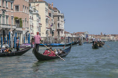 The Grand Canal in Venice/blue waters and skies gondolas. Royalty Free Stock Photos