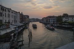 Grand canal in Venice at dawn in August stock photos