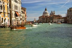 Grand Canal Venice a Different View. A spectacular View of the Grand Canal in Venice, a different view from under the Ponte dell`Accademia Academy Bridge as Royalty Free Stock Photography