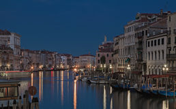 The Grand Canal in Venice in the evening stock photo
