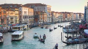Grand Canal in Venice in the evening stock video footage