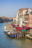 Grand Canal in Venice form Rialto bridge at sunset Royalty Free Stock Photos