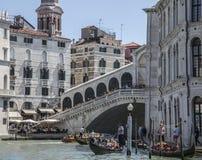 The Grand Canal in Venice/gondolas and the Rialto Bridge. Royalty Free Stock Image