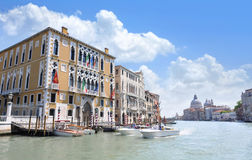 Grand Canal in Venice, Italy. With the domes of the Santa Maria della Salute in the background stock photo
