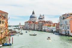 Grand Canal in Venice, Italy. Grand Canal and Basilica Santa Maria della Salute in Venice, Italy stock photo