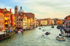 The Grand Canal, Venice, Italy. Boats crossing the Grand Canal on early morning, Venice, Italy Stock Photography
