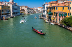 Grand Canal at Venice. Italy. Europe. Beautiful view of famous Grand Canal in Venice, Italy with gondola Royalty Free Stock Photography