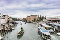 Grand Canal in Venice Italy. Grand canal in Venice,, Italy , Europe . View from the Bridge Royalty Free Stock Photos