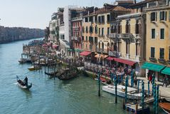 View to the Grand Canal from the famous Rialto bridge in Venice, Italy. royalty free stock photos