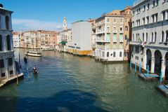 View to the Grand Canal from the famous Rialto bridge in Venice, Italy. royalty free stock photo