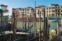 View to the Grand Canal next the famous Rialto bridge in Venice, Italy. royalty free stock images
