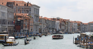 Grand Canal - Venice Italy. The grand canal of Venice - Italy full of vaporetos boats and gondolas Royalty Free Stock Image