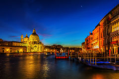 Grand Canal in Venice, Italy, at night Royalty Free Stock Photography