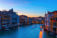 Grand Canal in Venice, Italy, at night Stock Photo