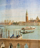 Grand Canal in Venice, Italy, artwork in painting style Stock Photography