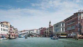 The grand canal Venice Italy. The Rialto bridge spanning the Grand canal in Venice, Italy Stock Photography