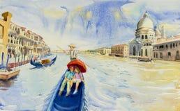 Grand Canal in Venice, Italy. Santa Maria della Salute church. Gondolas are the travel romantic in grand channel Venice. Watercolor landscape original painting royalty free illustration