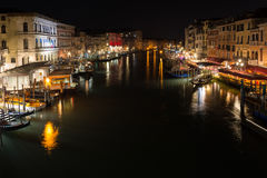 The Grand Canal in Venice, Italy, shot at night from Rialto Brid Royalty Free Stock Photos