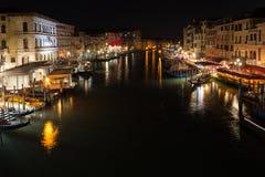 The Grand Canal in Venice, Italy, shot at night from Rialto Bridge royalty free stock photos
