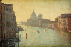 The Grand Canal in Venice. Italy.  View from the Accademia bridge. Added paper texture Stock Photos