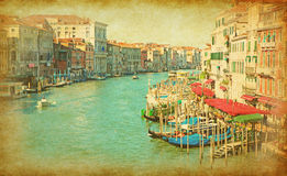 The Grand Canal in Venice. Italy. View from Rialto Bridge. Added paper texture Royalty Free Stock Photography