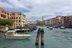 Grand Canal in Venice near Rialto Bridge Royalty Free Stock Photos