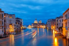 Grand Canal in Venice at night. Stock Photography
