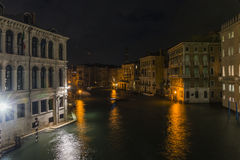 Grand Canal in Venice  at night. Grand canal in Venice at night , Italy , Europe . View from the Rialto  Bridge Royalty Free Stock Photography