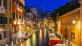 Grand Canal in Venice at night Royalty Free Stock Photos