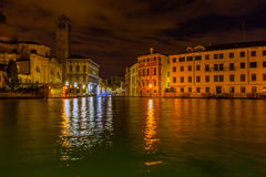 Grand Canal in Venice at night Stock Photography
