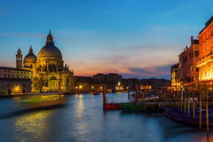 Grand Canal in Venice at night. View of the Grand Canal in Venice, Italy, at night Stock Photos