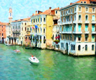 The Grand Canal, Venice; Oil Painting Style. Mansions alongside the Grand Canal, Venice, Italy. A timeless oil painting style Royalty Free Stock Photography
