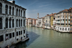 Grand Canal in Venice. Photo shows grand canale in Venice (Italy), the main waterway in the old town of Venice. Photo shows typical architecture of this town Stock Photos