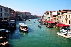 Grand Canal, Venice, from the Rialto Bridge. The grand canal is a famous waterway in Venice, Italy Stock Images