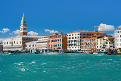 Grand Canal in Venice under the blue sky. View on Grand Canal in Venice under the blue sky Stock Images