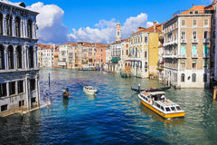 Grand Canal with view from bridge  in Venice Italy Royalty Free Stock Image