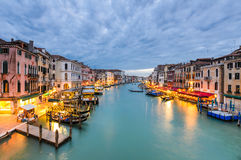 Grand Canal view at night, Venice Royalty Free Stock Photography