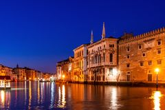 Grand Canal view in Venice, Italy at blue hour. Long exposure Royalty Free Stock Photo